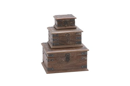 3 Piece Set Wood Reclaimed Boxes - Main