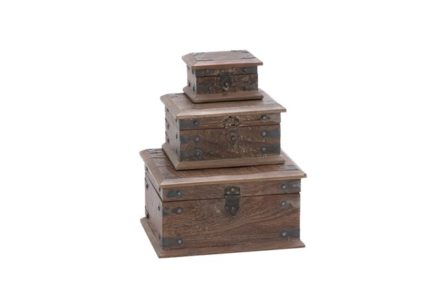 3 Piece Set Wood Reclaimed Boxes - 360