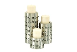 3 Piece Set Metal Candleholders