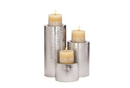 3 Piece Set Metal Candleholders