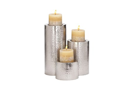 3 Piece Set Metal Candleholders - Main
