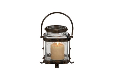 12 Inch Metal Glass Lantern - Main