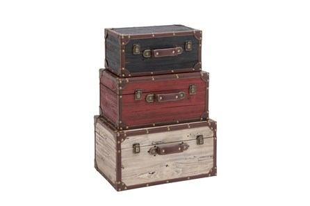 3 Piece Set Wood Trunks