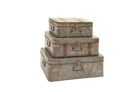 3 Piece Set Metal Galvan Trunks - Main
