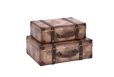 2 Piece Set Wood Leather Suitcases