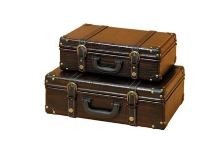 2 Piece Set Wood Leather Boxes