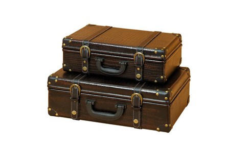 2 Piece Set Wood Leather Boxes - Main