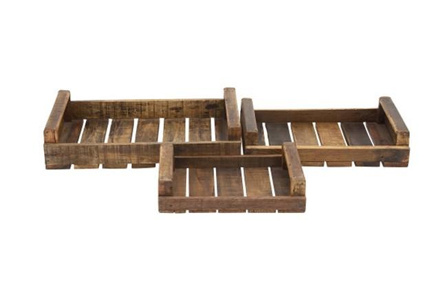 3 Piece Set Wood Trays - 360