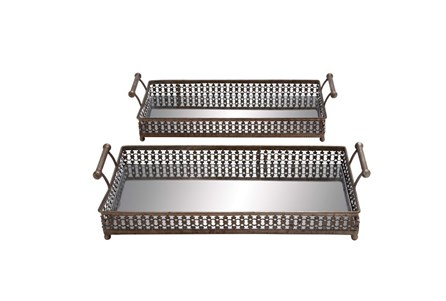 2 Piece Set Metal Glass Tray