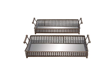 2 Piece Set Metal Glass Tray - Main