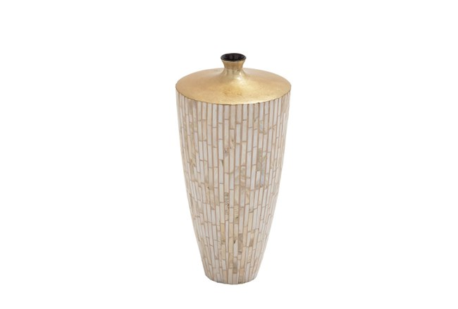 17 Inch Lacquer Inlay Small Vase - 360