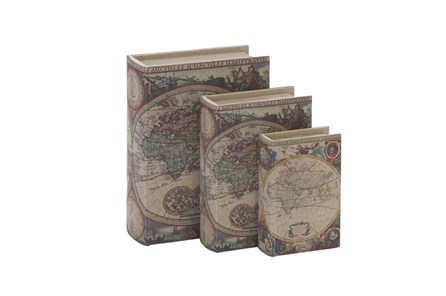 3 Piece Set Wood Fabric Book Boxes - Main