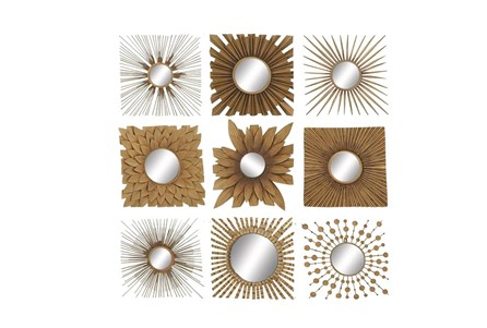 9 Piece Set Metal Wood Mirror Decor