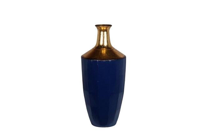 Blue Gold Metal Vase Large - 360
