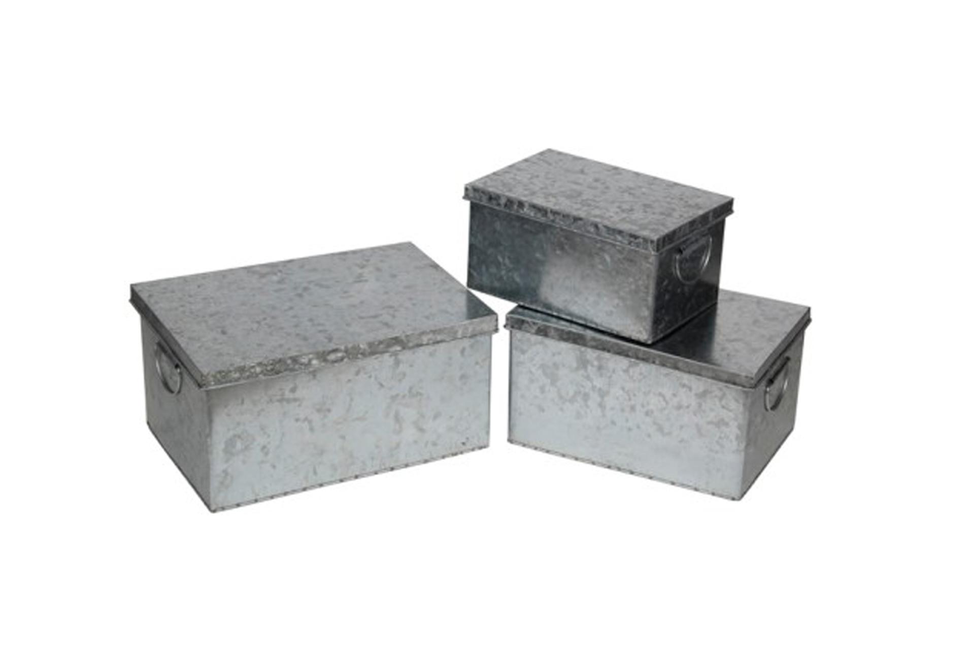 Lovely 3 Piece Set Galvanized Storage Boxes   360