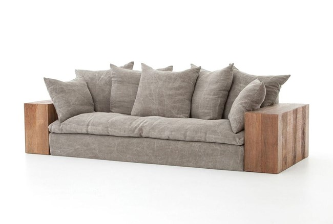 Reclaimed Natural Stonewash Heavy Taupe Sofa - 360
