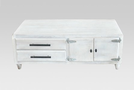 White Wash 2-Drawer/1-Door Coffee Table