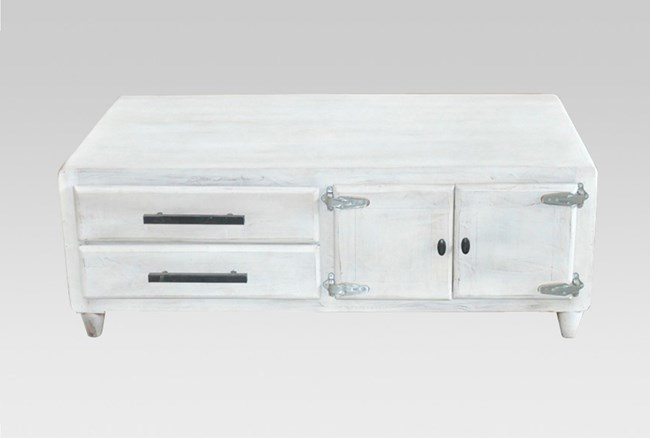 White Wash 2-Drawer/1-Door Coffee Table - 360