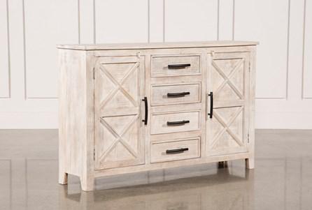 White Wash 4-Drawer/2-Door Chest