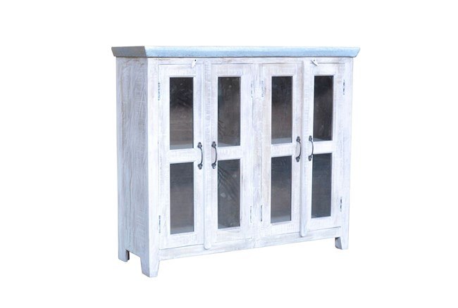 White Wash 4-Door Bookcase Cabinet - 360