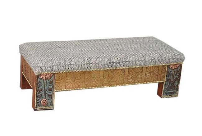 Charcoal Print Rectangle Ottoman - 360