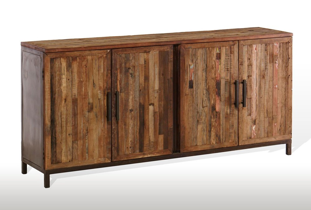"Vintage Finish 4-Door 80"" Sideboard"