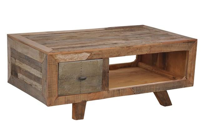 Galvanized Vintage Finish 1-Drawer Coffee Table - 360