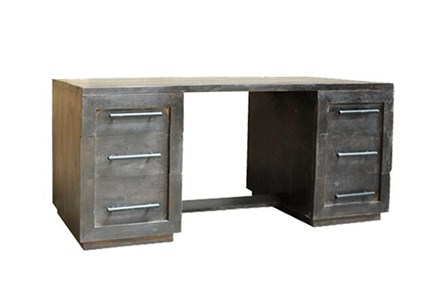 Charcoal Finish 6-Drawer Desk