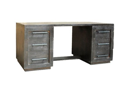 Charcoal Finish 6-Drawer Desk - Main