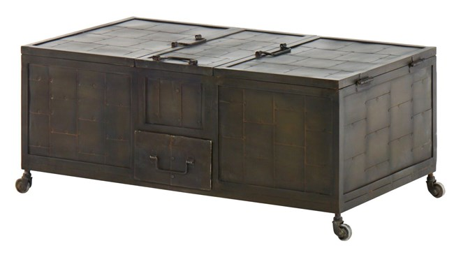 Antique Iron Finish 1-Drawer Lift-Top Coffee Table - 360