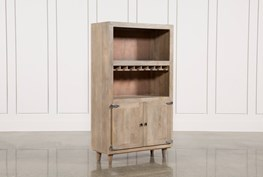Natural Grey Wash Finish 2-Door Wine Cabinet