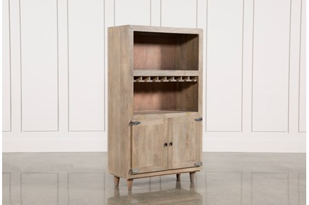 Natural Grey Wash Finish 2-Door Wine Cabinet - Main