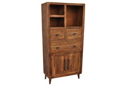 Natural Antique Finish 2-Door/3-Drawer Tall Cabinet