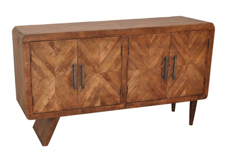 Natural Antique Finish 4-Door Credenza