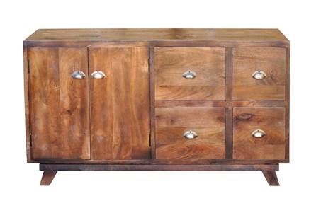 Antique Walnut Finish 2-Door/4-Drawer Sideboard