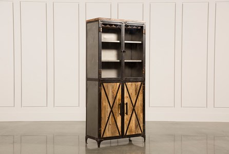Natural Mango 4-Door Tall Wine Cabinet
