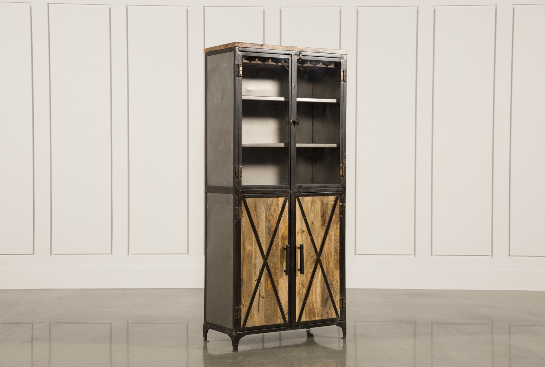 Awesome Natural Mango 4 Door Tall Wine Cabinet