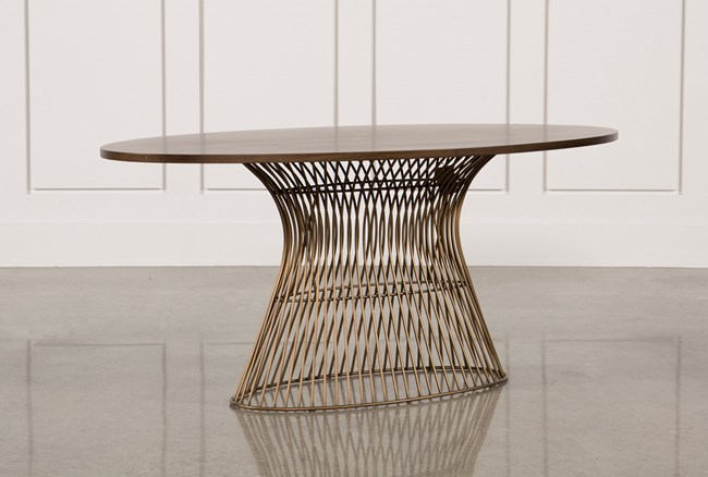 Golden Bronze Oval Dining Table - 360