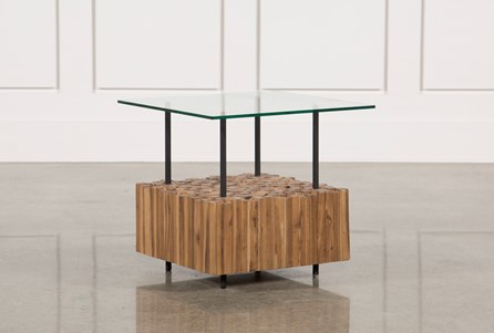 Nutmeg & Metal Adjustable Side Table