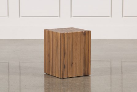 Nutmeg & Metal Square Accent Table