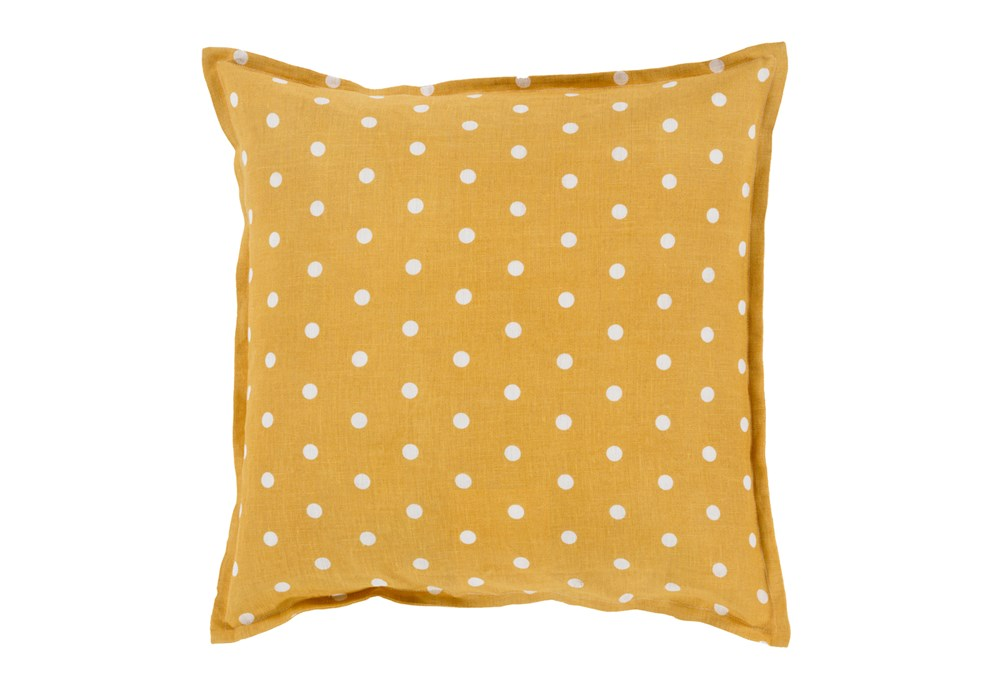 Promo Pillow- Yellow/White Polka Dot 18X18