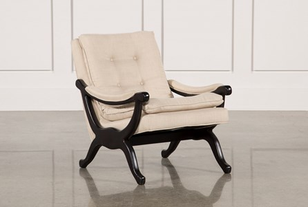 Linen & Dark Walnut Base Accent Chair