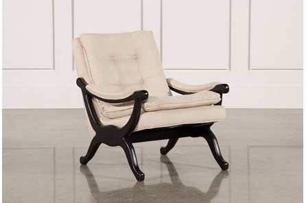 Linen & Dark Walnut Base Accent Chair