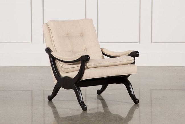 Linen & Dark Walnut Base Accent Chair - 360
