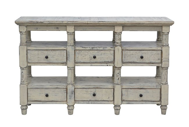 Cream 6-Drawer Console - 360