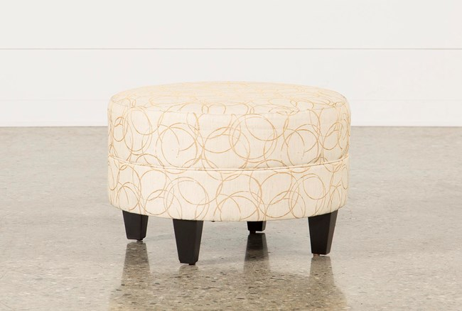 Adler Fabric Small Round Ottoman - 360