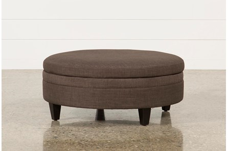 Adler Fabric Large Round Storage Ottoman