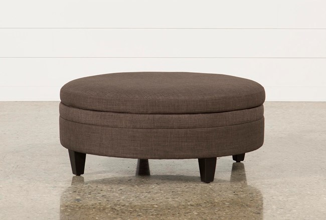 Adler Fabric Large Round Storage Ottoman - 360