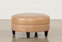 Adler Leather Medium Round Ottoman