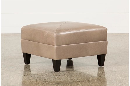 Adler Leather Small Square Ottoman - Main